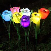yard decorations for christmas - Tulip flower LED solar light Christmas Lights outdoor lamp for lawn garden yard landscape path way decoration energia power luz
