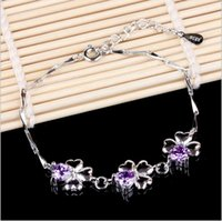 acting real - Hand act the role ofing Love is the real thing Happiness is a clover sterling silver amethyst bracelet and foreign trade
