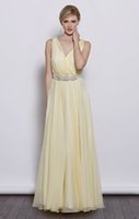 Cheap V-neck beaded belt floor length chiffon dress