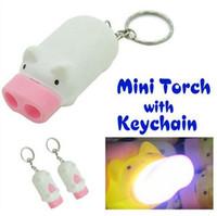 al por mayor llaveros de dibujos animados-Mini cerdo linterna linterna cadena llavero lindo cerdo 2 LED linterna luz linterna novedad linda de dibujos animados cerdo linterna luz llaveros