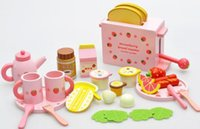 Wholesale 2016 new Mother garden children s wood playhouse game toy toast bread toaster kids wooden kitchen toys set