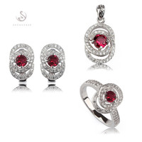 Wholesale Noble Generous MN3116set sz beautiful Red Cubic Zirconia Best Sellers Copper Rhodium Plated Fancy heart set ring earring pendant