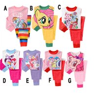 Wholesale 8pcs New Children Girls My Little Pony Pajamas suit Cartoon Sleepwear set Home Clothing Nightgown Pijamas baby toddler clothing