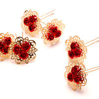 unique hair accessories - Vintage Classic Bridal Hair Accessories U Hairpin Red Chinese Style Updo Bridal Accessories Pieces Cheapest Unique Pin DH
