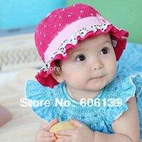 Cheap Lovely children winter baby bucket hat kids boys girls flower hats caps loving heart dots cotton hat free shipping