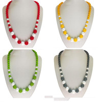 baby teeth grinding - Newest Silicone Teething Necklace for Baby and Mommy Fashion European American food grade beads necklaces for grind baby s teeth