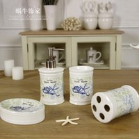 Wholesale American family of four high end rustic ceramics sanitary toiletries wedding gift housewarming gift ornaments