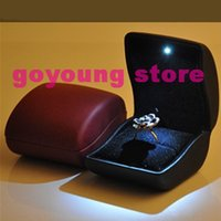 led jewelry display lighting - 2014 New Deluxe Led Ring Box Lighted Engagement Proposal PU Leather Jewelry Wedding Gift Box Display Ring Case