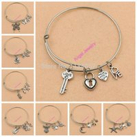 Wholesale Alex and Ani Bangles Expandable Wireing Fashion Angel Flower Butterfly Love Heart Charm Silver Plated Bracelets for Women Men