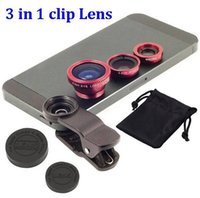 Wholesale 100set Universal Clip in1 Fisheye Lens wide angle macro lens for Mobile Phone iPhone Samsung phones Plus