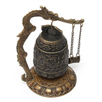 Wholesale Beautiful Design Chinese Details About Dragon Retro Excellent Alloy Tibet Carved Dragon Buddha Buddhist Bell Decoration