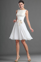Wholesale White Chiffon Lace Modest Bridesmaid Dress Boat Neck Knee Length Women Formal Party Dress Custom Size