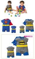 60pcs 6 chico de color batman mamelucos mono de Onesies ropa superhéroe mameluco del superhombre del bebé del mameluco del traje de regalo de navidad Traje