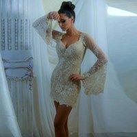 beach wedding bubbles - Bohemian Short Mini Lace Wedding Dresses Garden Beach Long Sleeves Juliet Bubble Sheath V neck Beaded Sheer Bridal Wedding Gowns