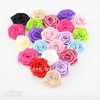 Wholesale satin ribbon rose flower Polyester flower DIY rose flower accessories color mix color