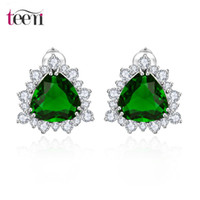 big discount stores - Teemi Jewelry Stores High Quality Stud Earrings Hot Big Triangle Brincos Exquisite Four Color Choose Zircon Stone White Gold Plated Discount