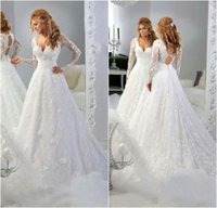 ball dresses china - V Neck Lace Ball Gown Wedding Dresses With Applique Princess Gowns Long Sleeves Wedding Gowns Crystals New China Bridal Gowns Plus Size