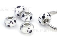 Wholesale on sale mix style handmade x14mm big hole silver Pandora beads losse beads Glass Beads DIY accessories to Europe GZ