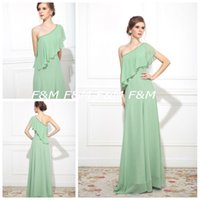 Wholesale Custom Made A Line Floor Length One Shoulder Strapless Simple Style Lighter Green Chiffon Lady Formal Evening Party Dress