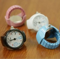 Wholesale New candy Steel Watch Creative Women Fashion Lady Girl Steel Round Elastic Quartz Finger Ring with watch Watch