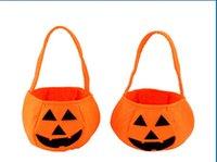 Wholesale Hallowmas Cosplay Prop Handheld pumpkin bag non woven D Pumpkin Bags Party Supplies