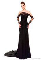 Cheap Hot ! New Sexy Off Shoulder Sheath Chapel Train Chiffon Black See Through Long Sleeve Zuhair Murad Evening Dresses 2014 Long
