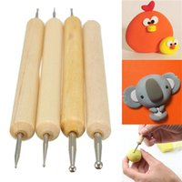 Wholesale Pack of Ball Stylus Polymer Clay Pottery Ceramics Sculpting Modeling Tools set Wooden handle