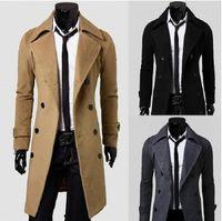 Wholesale Trade new men s Slim casual windbreaker men double breasted wool coat Long coat winter coat