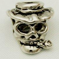 animals eating food - Fits Pandoar Bracelets men s fashion jewelry silver pipe eat skull beads in jewelry fit Pandora bracelet beautiful gift for Halloween