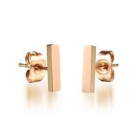 Cheap Stainless Steel Rose Gold Square Bar Earrings Staple Stud Earring Delicate Simple Studs Minimalist Earrings Handmade Bar Studs