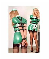 Cheap NEW Multi Tier Arm and Breast Waist Bondage Toy Leather Escapology Female Body Harness Armbinder with Pad Lock and Adjustable