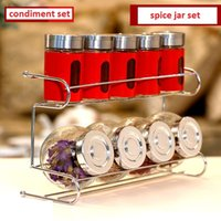 glass canister set - 9pcs set spice jar set glass jars for spices condiment set kitchen canisters porta temperos condimentos pote de tempero