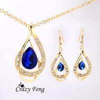 Wholesale Women s k Yellow Gold Filled Ruby White Blue Sapphire Austrian Crystal Chain Necklace Earrings Jewelry Sets