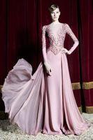 best all arts - Zuhair Murad Evening Dresses New Pink Fashion Long Sleeve Formal Dresses Evening Sheer Beaed Elegant Luxury Bateau Best Prom Dresses