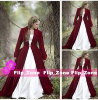 Wholesale Burgundy Velvet Christmas Hooded Cloak Bridal Cloaks Capes Witch Cloak Winter Halloween Long Sleeves Jacket Wedding Bridesmaid Wraps