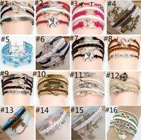 leather bracelets for men - 44 styles bracelet leather charm bracelets for women and men Anchor cross owl Branch love bird believe
