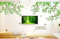 Wholesale Removable Large Tree Bird Leaves Quote Wall Sticker Vinyl Art Decal room Decor