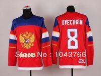 30 Equipos-Venta al por mayor 2014 Olympic Alexander Ovechkin Rusia Jersey Sochi Equipo Rusia Hockey Jersey Ruso 8 Alexander Ovechkin Olympic Jersey