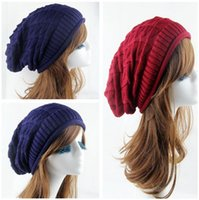 Wholesale Fashion Korean Winter Knitting Woolen Tricorne Hats Women Beret Baggy Beanie Crochet Hat Unisex Man Lady Rhombus Plaid Warm Cap L1452