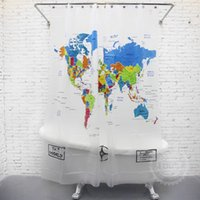 Wholesale PEVA World Map Shower Curtain cm super waterproof shower curtain learning world geography while bathing hot sale