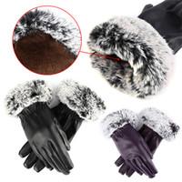 Wholesale New Arrivals Women Lady Five Fingers Gloves Rabbit Fur Mittens Leather Autumn Winter Warm EA28