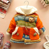 bears jacket - 2015 retail Baby Girl Cute D Bear Bohemia Pocket Winter Warm Jacket Gown Kids Outwears Coat