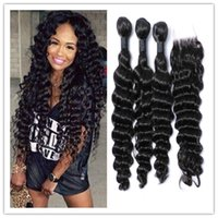 Wholesale Cheap Deep Curl Closure - cheap brazilian virginhair deep curl wave with top lace closure 100% human hair weft unprocessed hair 4bundles lot free shipping