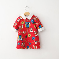 american label - Girls Owl Printed Embroidery Dresses Kids Doll label short Sleeve silm Straight Korean Princess Party Dress Baby Girls Tutu Skirt Colors