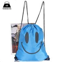 Wholesale 2015 Fashion Smiling Drawstring Bags Unisex Women Men Camping String Nylon Backpack Ruckpack Hiking Travel Gym Sport Bag Color