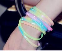 Wholesale cheap candy color silicone bracelet Rainbow Loom glow Fluorescent color Luminous souvenir wristband TFBOYS EXO Sports jelly Bangle