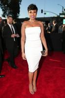 Wholesale 2015 th Grammy Jennifer Hudson Little White Dress Celebrity Dresses Evening Gowns Strapless Knee Length Backless Party Cocktail Dresses