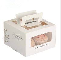 Wholesale Square Windowed Portable grid Portable cake box Cheesecake Cupcakes West Point cm New special packaged for sale