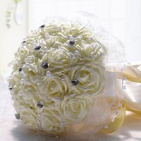 beach bouquets - Popular Cheap Bridal Bouquet Beach Wedding Bride Decoration Artificial Bridesmaid Flowers Lace Crystal Pearls Stain Silk Foam Rose Cream Red