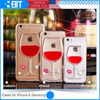 glass wine bottle - Soft TPU Case for iPhone C s plus Liquid Quicksand Red Wine Cocktail Glass Bottle Back Cover With Stand